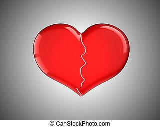 quebrada, Amor, perdido, vermelho, Coração
