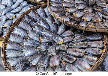 fish preservation , Thai food dried Nile tilapia fish.