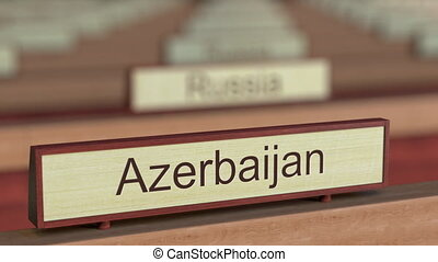 Azerbaijan name sign among different countries plaques at...