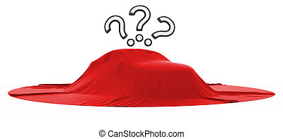 New car reveal with 3 query marks over white background