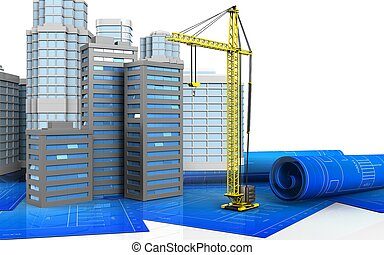 3d of crane - 3d illustration of city buildings with urban...