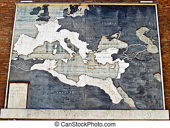 Roman Empire map in marble, Italy - Map of the Roman Empire,...