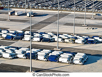 New vans, port of Barcelona, Spain, aerial view - New vans...
