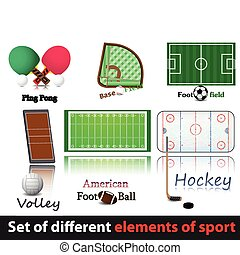 Set of elements of sport Hockey, volley, baseball, amercan...