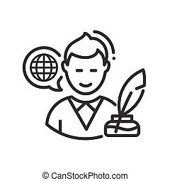 Biography - modern vector line design single icon. -...