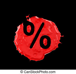 Red blob percent mark over black background. Large...