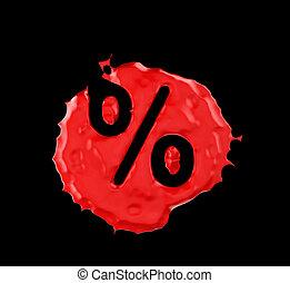 Red blob percent mark over black background. Large...