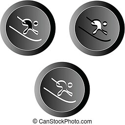skier icon button vector