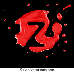 Red blob Z letter over black background. Large resolution