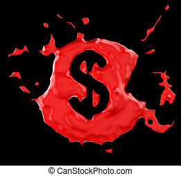 Red blob US dollar symbol over black background. Large...