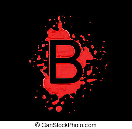 Red blot B letter over black background Large resolution