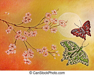 Painting of Japanese cherry blossom - Original oil painting...