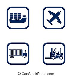 flat design icons export import set - ship, airplane, truck and forklift