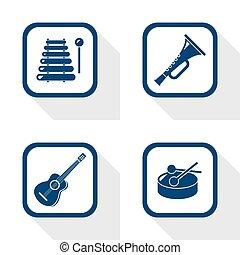 flat design icons music set - trumpet, guitar, drum,...