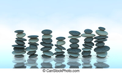 Seven Pebble stacks on water