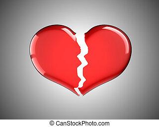 Coração, quebrada, dor, vermelho, doença