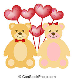 Valentine's Day Teddy Bear Couple with Red Balloons