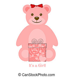 Pink Girl Teddy Bear with Gift - Pink Girl Teddy Bear with...