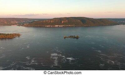 Panoramic View of Volga River Bend, aerial shooting -...