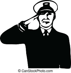 salute vector - navy guy salute vector illustration