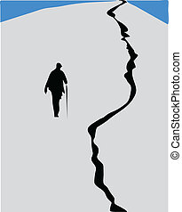 man climb to the top  color vector illustration