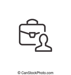 Business person line icon isolated on white. Vector...