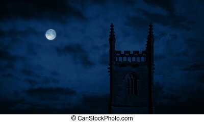 Church At Night With Full Moon - Old church building in the...