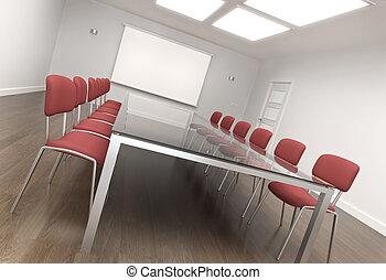 Board room - Empty conference room. 3D render.