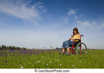 Handicapped woman on wheelchair
