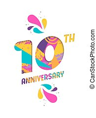 Happy 10 year anniversary paper cut greeting card - Happy 10...