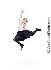 best education concept - Happy excited schoolgirl in school...