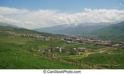 Landscape View of the City in the Mountains of Armenia. -...