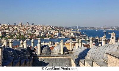 Galata bridge in the Golden horn, Istanbul, Turkey -...