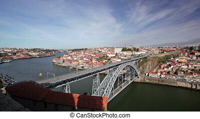 Douro river and bridge Dom Luis I in Porto, Portugal - The...