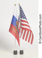 Russia and USA national flags on White Background.