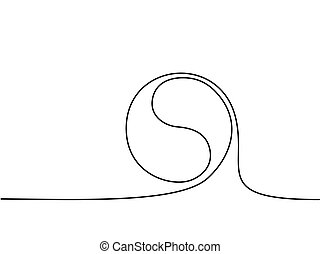 Yin yang symbol sign. Continuous line drawing icon. Vector...