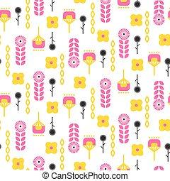 Scandinavian folk floral art pattern seamless vector. -...