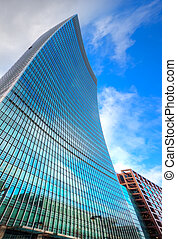 Surreal warped style Business concept financial district...