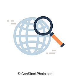 Magnifying Glass Icon Global Data Search Concept