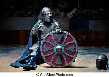 Medieval Knight - Medieval knight in the armor with the...