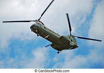 CH47 Helicopter in the air - American Navy CH47 Helicopter...