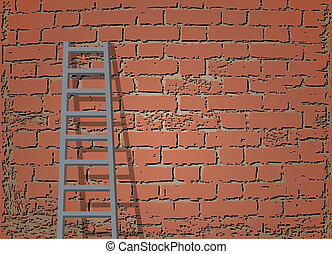 Ladder Against Brick Wall. Vector illustration