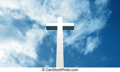 Cross On Blue Sky - Large white cross on sunny day