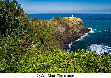 Kilauea lighthouse on a sunny day in Kauai, Hawaii
