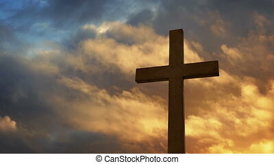Cross With Dramatic Sky At Sunset - Dramatic silhouette of...