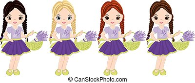 Vector Cute Little Girls with Lavender