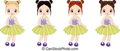 Vector Cute Little Girls with Lavender Bouquets