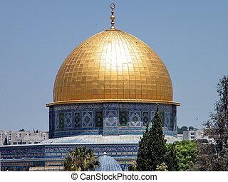 ciudad, viejo, mezquita, cúpula, roca, jerusalén
