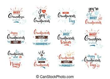 Happy Grandparents Day Greeting Card Banners Set Text Over...