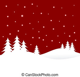 A winter vector background illustration with white trees on...